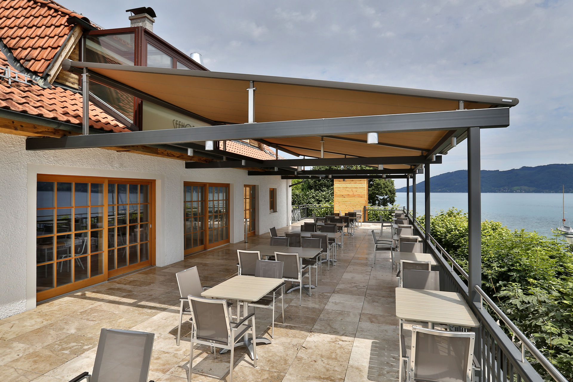 Restaurant terrace awning